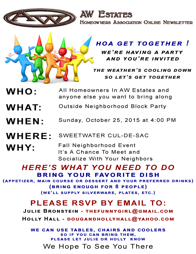 Neighborhood meet and greet party oct 25 2015 aw estates hoa you can get details by downloading the flyer at this link m4hsunfo
